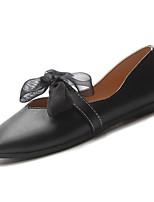 cheap -Women's Shoes PU(Polyurethane) Summer Comfort Flats Flat Heel Square Toe Bowknot Black / Beige