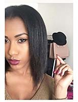 cheap -Remy Human Hair Full Lace Wig Brazilian Hair Yaki Straight Wig Bob Haircut / Short Bob 130% Natural Hairline / 100% Hand Tied Black Women's 8-14 Human Hair Lace Wig