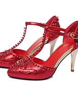 Недорогие -Жен. Обувь Микроволокно Весна Удобная обувь Обувь на каблуках На шпильке Серебряный / Красный