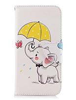 billiga -fodral Till Apple iPhone X / iPhone 8 Plus Plånbok / Korthållare / med stativ Fodral Elefant Hårt PU läder för iPhone X / iPhone 8 Plus / iPhone 8