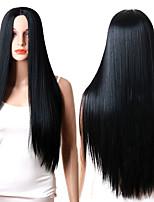 billiga -Syntetiska peruker Rak Middle Part Syntetiskt hår Justerbar / Värmetåligt / syntetisk Svart Peruk Dam Lång Utan lock Svart / Ja