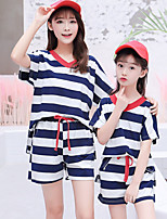 cheap -Adults / Kids Mommy and Me Striped Short Sleeve Clothing Set