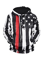 cheap -Men's Long Sleeve Loose Hoodie - Striped Hooded