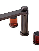 cheap -Bathroom Sink Faucet - Widespread / New Design Oil-rubbed Bronze Deck Mounted Two Handles Three Holes