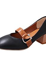 cheap -Women's Shoes PU(Polyurethane) Summer Comfort Heels Chunky Heel Round Toe Black / Beige / Light Brown