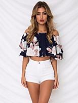 baratos -Mulheres Blusa Estampado, Geométrica