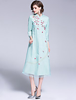 cheap -Mary Yan & Yu Women's Street chic / Chinoiserie A Line Dress Patchwork / Embroidered