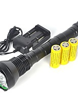 cheap -LED Flashlights / Torch / Handheld Flashlights / Torch LED 11000 lm with Batteries Professional Camping / Hiking / Caving / Everyday Use / Police / Military