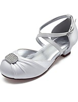 cheap -Girls' Shoes Satin Spring & Summer Ballerina / Flower Girl Shoes Heels Rhinestone / Sparkling Glitter / Side-Draped for Kids White / Ivory / Wedding / Party & Evening