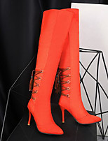 baratos -Mulheres Sapatos Couro Ecológico Inverno Conforto / Botas da Moda Botas Salto Robusto Botas Acima do Joelho Preto / Laranja / Castanho Claro
