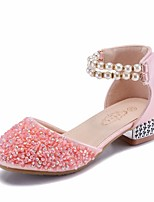 cheap -Girls' Shoes PU(Polyurethane) Summer Flower Girl Shoes / Tiny Heels for Teens Heels for Silver / Pink