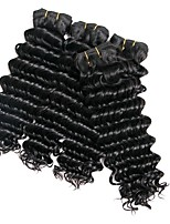 cheap -4 Bundles Brazilian Hair Curly Human Hair Natural Color Hair Weaves / Extension 8-28 inch Human Hair Weaves Machine Made Best Quality / New Arrival / 100% Virgin Natural Human Hair Extensions Women's
