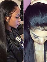 Недорогие -Remy Лента спереди Wig Бразильские волосы Прямой Парик 180% С детскими волосами / Женский / Лучшее качество Черный Жен. Длинные Парики из натуральных волос на кружевной основе