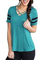 economico -T-shirt Per donna A strisce A V - Cotone