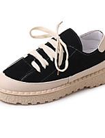 cheap -Women's Shoes Suede Spring Comfort Sneakers Flat Heel Round Toe Black / Beige / Red