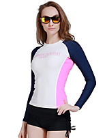 cheap -Women's Diving Rash Guard Keep Warm, Anti-Aging, Breathable Chinlon / Elastane Long Sleeve Swimwear Beach Wear Top Patchwork Swimming / Diving / Water Sports