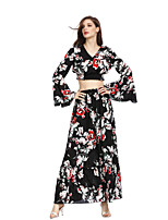 cheap -Women's Vintage / Boho Flare Sleeve Set - Floral / Geometric, Embroidered Skirt