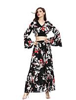 abordables -Mujer Vintage / Boho Manga de la llamarada Conjunto - Floral / Geométrico, Bordado Falda