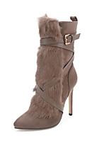 baratos -Mulheres Sapatos Camurça Inverno Botas da Moda / Forro de fluff Botas Salto Agulha Dedo Apontado Botas Cano Médio Khaki