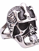 cheap -Men's Cubic Zirconia Vintage Style / Solitaire Statement Ring - Titanium Steel Skull Statement, Vintage, European 7 / 8 / 9 Silver For Carnival / Street