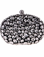 cheap -Women's Bags Polyester Evening Bag Buttons / Crystals Black / Silver