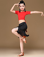 abordables -Baile Latino Accesorios Chica Rendimiento Fibra de Leche / Seda Sintética Diseño / Estampado / Fruncido / Borla Manga Corta Cintura Media Faldas / Top