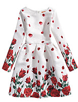 cheap -Toddler Girls' Butterfly / Tropical Leaf Floral Long Sleeve Dress