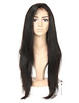 Недорогие -Натуральные волосы Полностью ленточные Парик Бразильские волосы Прямой Парик Ассиметричная стрижка 130% / 150% / 180% Без запаха / Шерсть / Новое поступление Черный Жен. Средняя длина / Мода