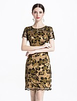 baratos -Mulheres Vintage / Elegante Bainha Vestido Sólido / Floral Acima do Joelho