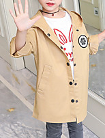 cheap -Kids Girls' Geometric Long Sleeve Trench Coat