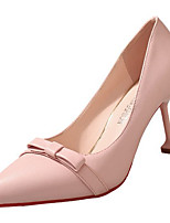 cheap -Women's Shoes PU(Polyurethane) Summer Basic Pump Heels Stiletto Heel Pointed Toe Bowknot Black / Beige / Pink