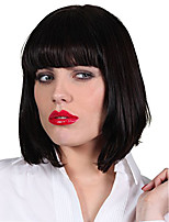 cheap -Synthetic Wig Straight Bob Haircut Synthetic Hair Women / With Bangs Black Wig Women's Mid Length Capless Black