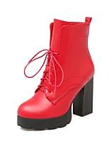 Недорогие -Жен. Обувь Полиуретан Весна лето Удобная обувь Ботинки На толстом каблуке Черный / Красный / Розовый
