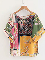 cheap -Women's Basic T-shirt - Floral / Color Block Print
