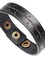 Недорогие -Муж. Одинарная цепочка Браслет цельное кольцо / Кожаные браслеты / Браслет - Кожа Буквы Классика, Мода Браслеты Черный / Кофейный / Коричневый Назначение Официальные / Офис