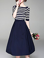 cheap -Women's Sweater - Solid Colored / Striped Skirt
