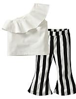 Недорогие -Дети / Дети (1-4 лет) Девочки Черное и белое Полоски Без рукавов Набор одежды