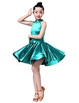 abordables -Baile Latino Vestidos Chica Rendimiento Licra Fajas / Fruncido Sin Mangas Vestido
