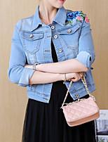 Недорогие -Жен. Джинсовая куртка Классический - Цветочный принт Вышивка