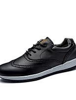 Недорогие -Муж. Кожа Весна Удобная обувь Туфли на шнуровке Черный