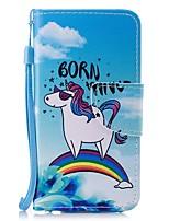 economico -Custodia Per Apple iPhone 6 / iPhone 6s A portafoglio / Porta-carte di credito / Con chiusura magnetica Integrale Unicorno Resistente pelle sintetica per iPhone 6s / iPhone 6