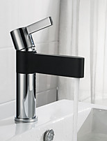 cheap -Bathroom Sink Faucet - New Design Chrome / Black Centerset Single Handle One Hole