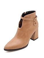 abordables -Mujer Zapatos Cuero Sintético Otoño invierno Botas hasta el Tobillo Botas Tacón Cuadrado Dedo Puntiagudo Botines / Hasta el Tobillo Pedrería Negro / Amarillo / Almendra