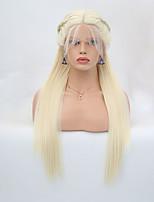 Недорогие -Синтетические кружевные передние парики Прямой Блондинка тесьма Искусственные волосы Жаропрочная Блондинка Парик Жен. Длинные Лента спереди / Да