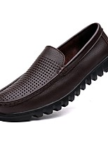 cheap -Men's Nappa Leather Summer Comfort Loafers & Slip-Ons Black / Brown