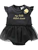 cheap -Baby Girls' Solid Colored Short Sleeves Bodysuit