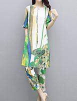 cheap -Women's Vintage / Street chic Set - Floral / Geometric, Print Pant