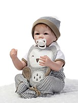 cheap -NPKCOLLECTION Reborn Doll Baby Boy 22 inch Silicone - lifelike, Hand Applied Eyelashes, Tipped and Sealed Nails Kid's Boys' Gift / Artificial Implantation Brown Eyes / Natural Skin Tone / Floppy Head