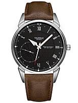 baratos -YAZOLE Homens Relógio de Pulso Noctilucente / Relógio Casual / Legal PU Banda Luxo / Minimalista Preta / Marrom