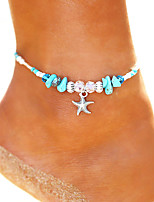 cheap -Turquoise Beads Yoga Anklet Ankle Bracelet - Starfish Vintage, Bohemian, Fashion Silver For Holiday Bikini Women's